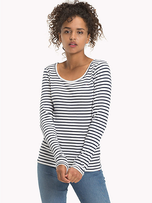 TOMMY JEANS Stripe Rib Cotton T-Shirt - BLACK IRIS / BRIGHT WHITE - TOMMY JEANS FEMMES - image principale