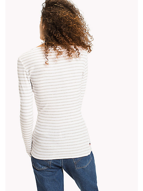 TOMMY JEANS Stripe Rib Cotton T-Shirt - GREY MELANGE / BRIGHT WHITE - TOMMY JEANS WOMEN - detail image 1