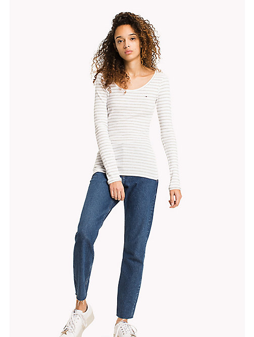 TOMMY JEANS Stripe Rib Cotton T-Shirt - GREY MELANGE / BRIGHT WHITE - TOMMY JEANS MUJERES - imagen principal