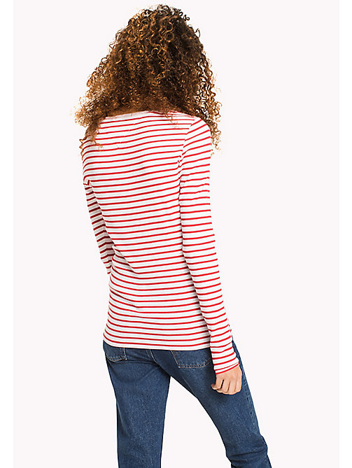 TOMMY JEANS Stripe Rib Cotton T-Shirt - SKI PATROL / BRIGHT WHITE - TOMMY JEANS WOMEN - detail image 1