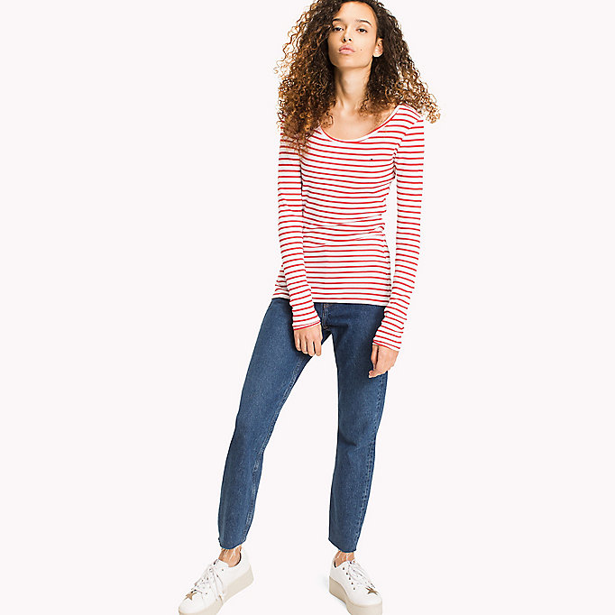TOMMY JEANS Stripe Rib Cotton T-Shirt - GREY MELANGE / BRIGHT WHITE - TOMMY JEANS Clothing - main image