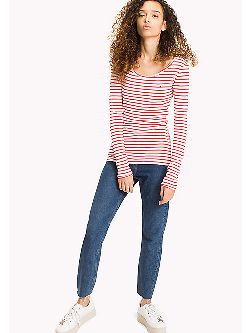 TOMMY JEANS Stripe Rib Cotton T-Shirt - SKI PATROL / BRIGHT WHITE - TOMMY JEANS WOMEN - main image