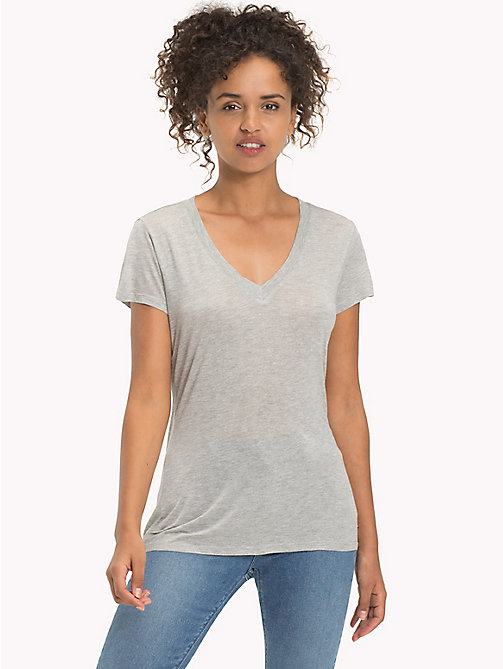 TOMMY JEANS Viscose Jersey Relaxed T-Shirt - LIGHT GREY HTR -  MUJERES - imagen principal