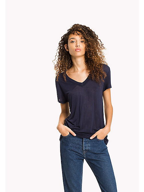 TOMMY JEANS Viscose tricot relaxed T-shirt - BLACK IRIS - TOMMY JEANS DAMES - main image