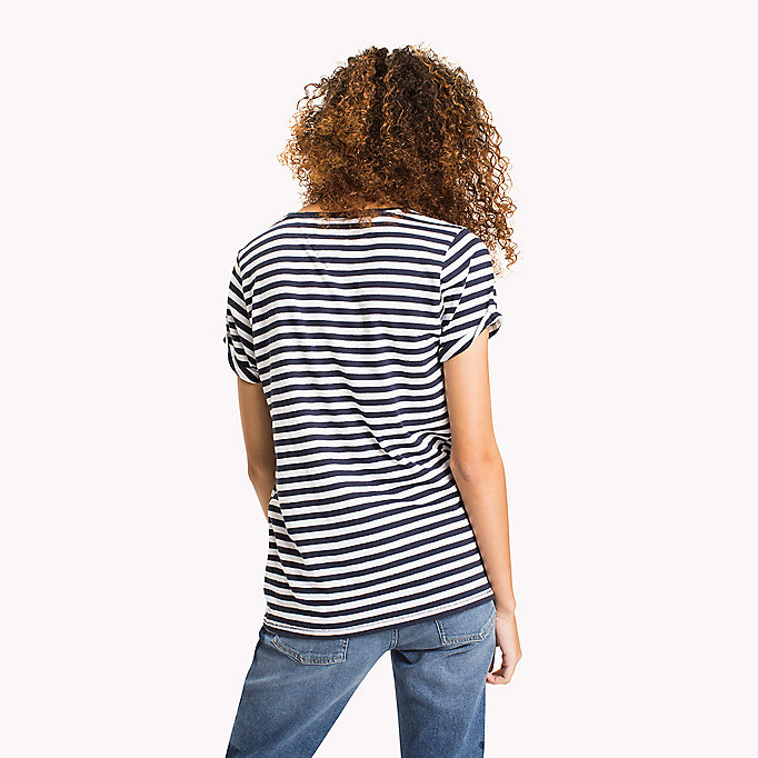 TOMMY JEANS Cotton Linen Stripe T-Shirt - SKI PATROL / BRIGHT WHITE - TOMMY JEANS Women - detail image 1