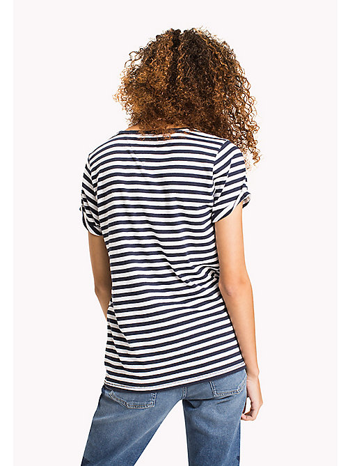TOMMY JEANS Cotton Linen Stripe T-Shirt - BLACK IRIS / BRIGHT WHITE - TOMMY JEANS FEMMES - image détaillée 1