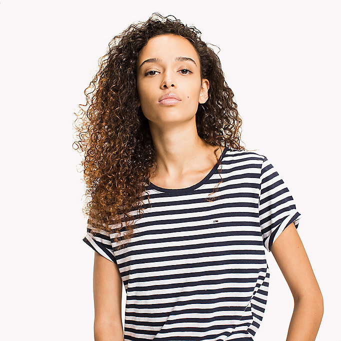 TOMMY JEANS Cotton Linen Stripe T-Shirt - SKI PATROL / BRIGHT WHITE - TOMMY JEANS Women - detail image 2