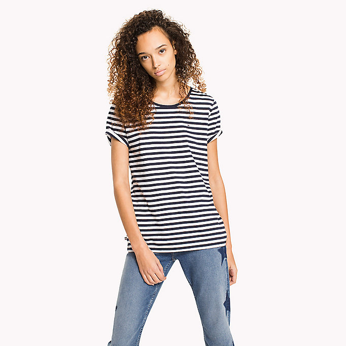 TOMMY JEANS Cotton Linen Stripe T-Shirt - SKI PATROL / BRIGHT WHITE - TOMMY JEANS Women - main image