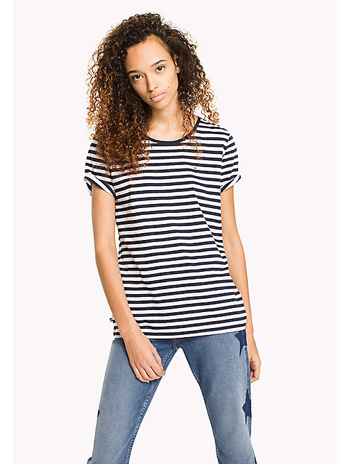 TOMMY JEANS Cotton Linen Stripe T-Shirt - BLACK IRIS / BRIGHT WHITE - TOMMY JEANS MUJERES - imagen principal