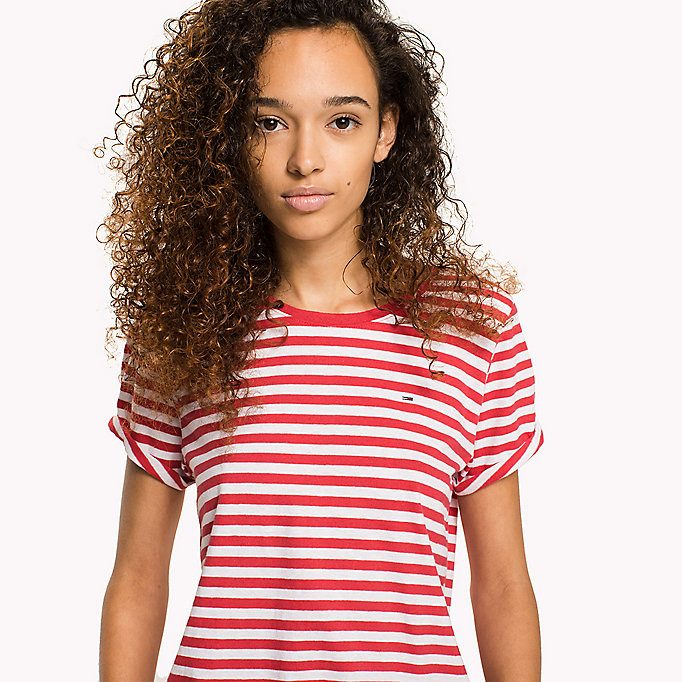 TOMMY JEANS Cotton Linen Stripe T-Shirt - DANDELION / BRIGHT WHITE - TOMMY JEANS Women - detail image 2