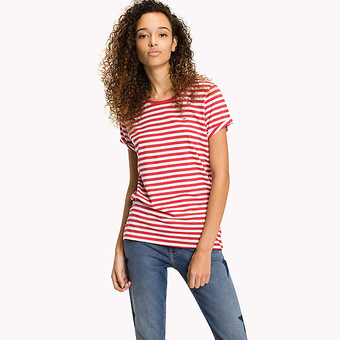 TOMMY JEANS Cotton Linen Stripe T-Shirt - DANDELION / BRIGHT WHITE - TOMMY JEANS Women - main image