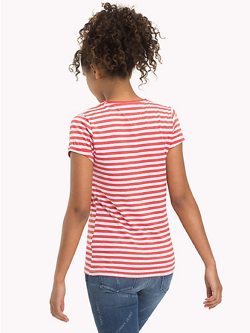 TOMMY JEANS Cotton Linen Stripe T-Shirt - SPICED CORAL / BRIGHT WHITE - TOMMY JEANS WOMEN - detail image 1