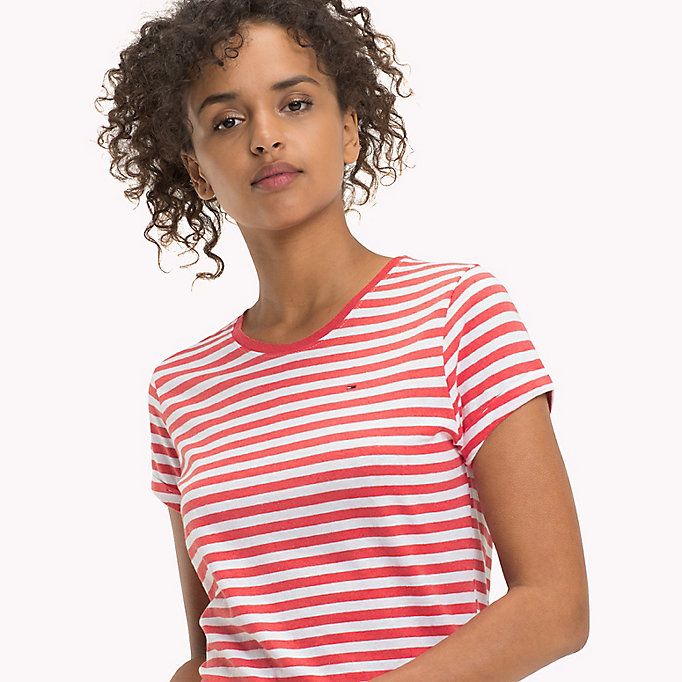 TOMMY JEANS Cotton Linen Stripe T-Shirt - LT GREY HTR / BRIGHT WHITE - TOMMY JEANS Women - detail image 2