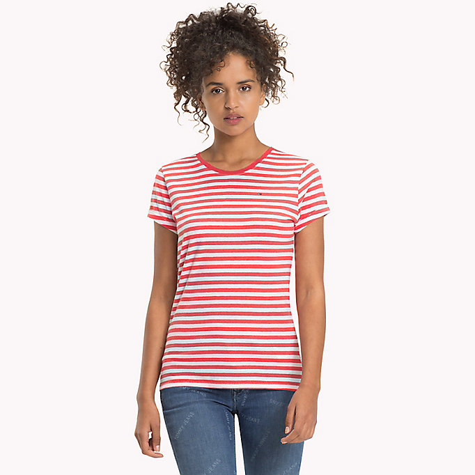 TOMMY JEANS Cotton Linen Stripe T-Shirt - LT GREY HTR / BRIGHT WHITE - TOMMY JEANS Women - main image