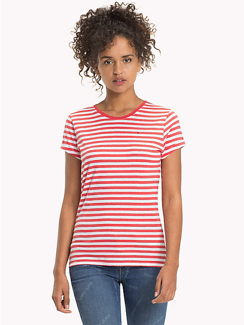 TOMMY JEANS Cotton Linen Stripe T-Shirt - SPICED CORAL / BRIGHT WHITE - TOMMY JEANS FEMMES - image principale