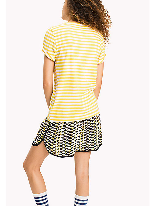 TOMMY JEANS Cotton Linen Stripe T-Shirt - DANDELION / BRIGHT WHITE - TOMMY JEANS Tops - detail image 1