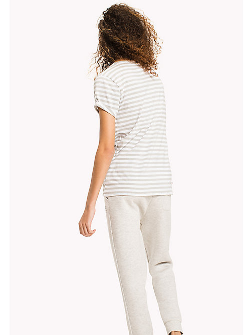 TOMMY JEANS Cotton Linen Stripe T-Shirt - LT GREY HTR / BRIGHT WHITE - TOMMY JEANS WOMEN - detail image 1