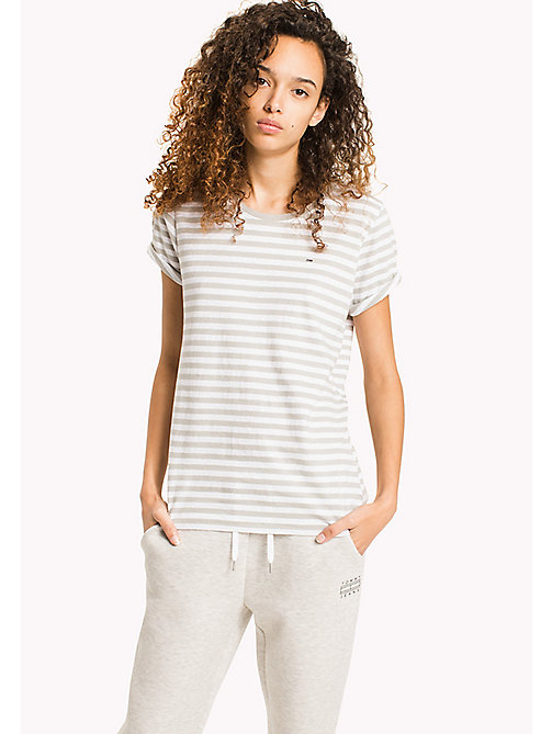 TOMMY JEANS Cotton Linen Stripe T-Shirt - LT GREY HTR / BRIGHT WHITE - TOMMY JEANS MUJERES - imagen principal