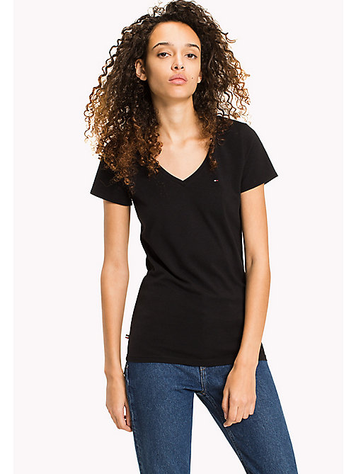 TOMMY JEANS Cotton Stretch Jersey T-Shirt - TOMMY BLACK - TOMMY JEANS WOMEN - main image