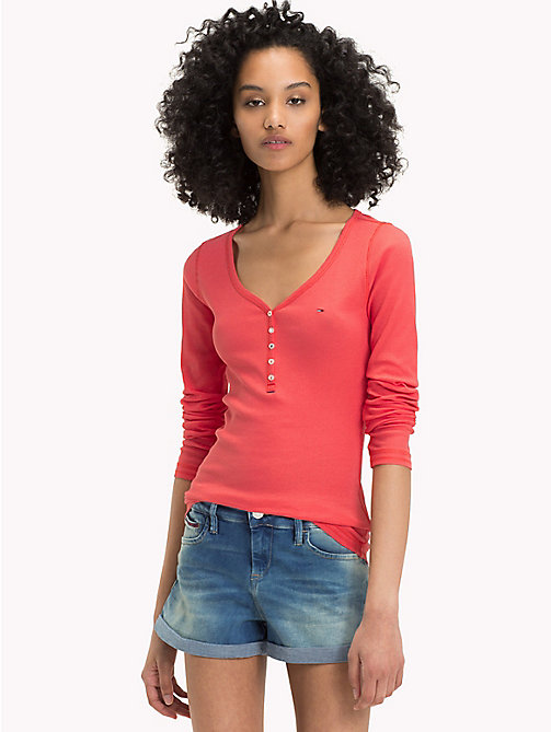 TOMMY JEANS Ribbed Cotton Henley Top - SPICED CORAL - TOMMY JEANS Test 12 - main image
