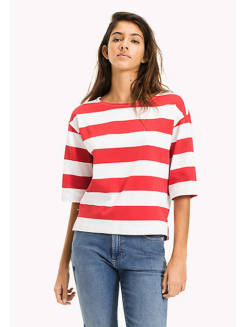 Bold Stripe Boxy T-Shirt - BRIGHT WHITE / SKI PATROL - TOMMY JEANS Clothing - main image