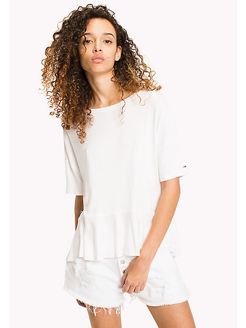 TOMMY JEANS Stretch-T-Shirt mit Schößchen - BRIGHT WHITE - TOMMY JEANS DAMEN - main image