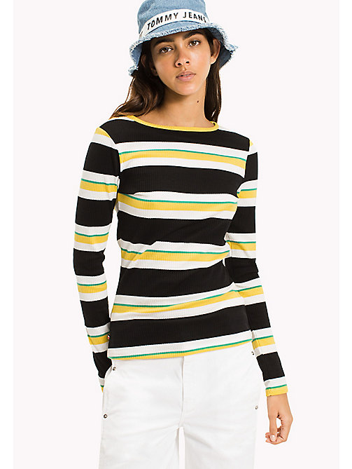 TOMMY JEANS Long Sleeve Stripe T-Shirt - TOMMY BLACK / MULTI - TOMMY JEANS Tops - main image