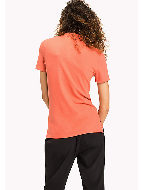 TOMMY JEANS Organic Cotton Stretch Polo - SPICED CORAL - TOMMY JEANS Clothing - detail image 1