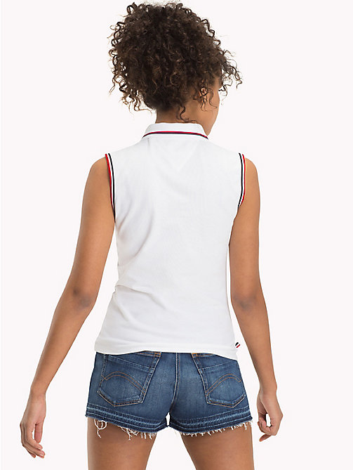 TOMMY JEANS Stretch Cotton Sleeveless Polo - BRIGHT WHITE - TOMMY JEANS WOMEN - detail image 1