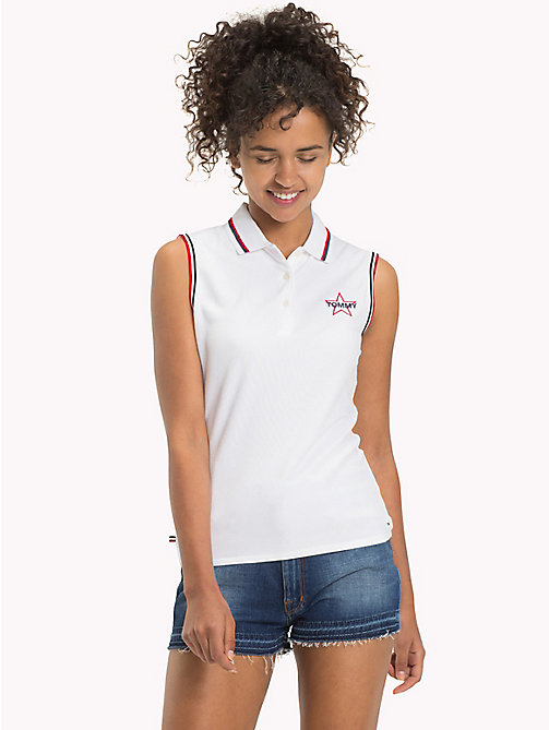 TOMMY JEANS Stretch Cotton Sleeveless Polo - BRIGHT WHITE - TOMMY JEANS WOMEN - main image