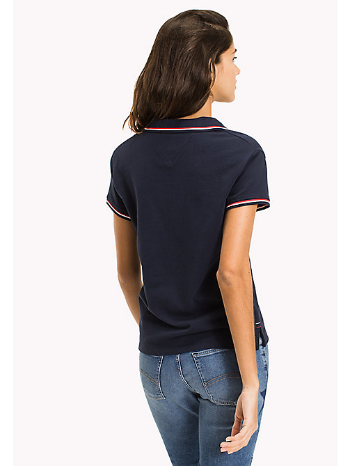 TOMMY JEANS Organic Cotton Stretch Polo - BLACK IRIS - TOMMY JEANS WOMEN - detail image 1