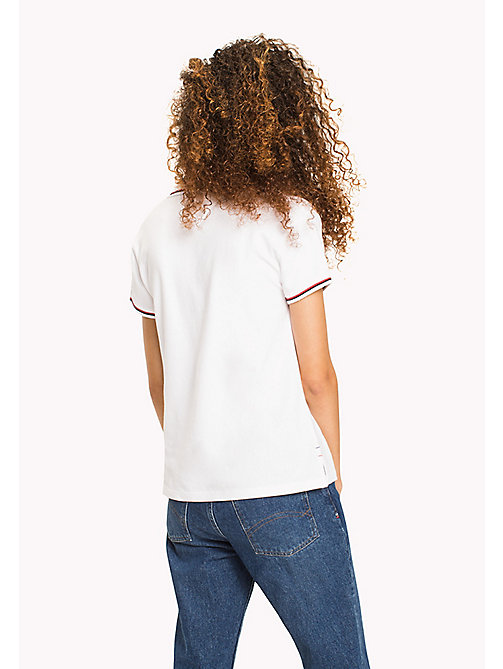 TOMMY JEANS Organic Cotton Stretch Polo - BRIGHT WHITE - TOMMY JEANS WOMEN - detail image 1