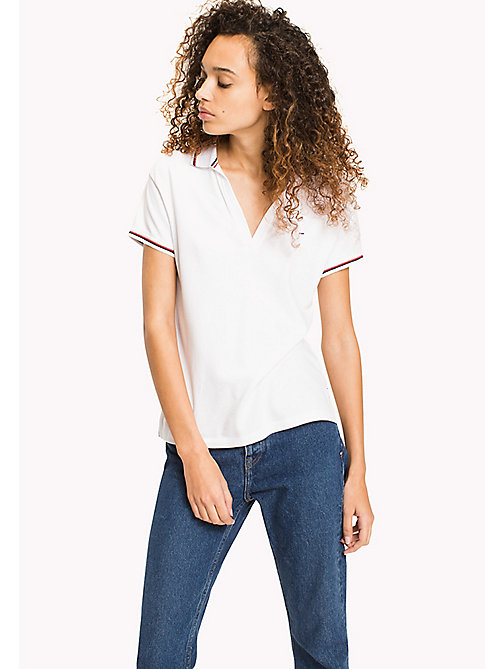 TOMMY JEANS Organic Cotton Stretch Polo - BRIGHT WHITE - TOMMY JEANS WOMEN - main image