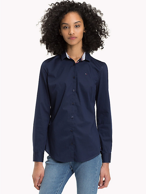 TOMMY JEANS Slim Fit Poplin Shirt - BLACK IRIS -  Test 12 - main image