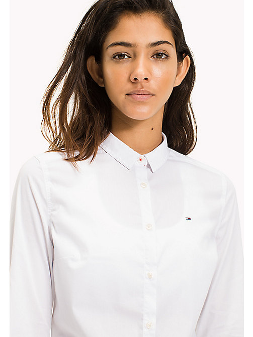 TOMMY JEANS Slim Fit Poplin Shirt - BRIGHT WHITE - TOMMY JEANS Test 12 - main image