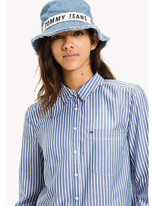 TOMMY JEANS Tencel Blend Stripe Shirt - NAUTICAL BLUE / BRIGHT WHITE - TOMMY JEANS TOMMY JEANS WOMEN - main image