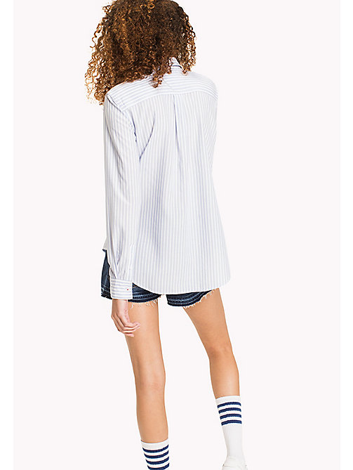 TOMMY JEANS Tencel Blend Stripe Shirt - SERENITY / BRIGHT WHITE - TOMMY JEANS Tops - detail image 1