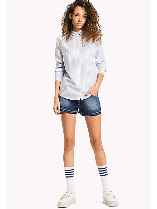 TOMMY JEANS Tencel Blend Stripe Shirt - SERENITY / BRIGHT WHITE - TOMMY JEANS Tops - main image