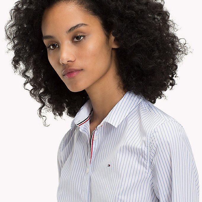 TOMMY JEANS Stripe Slim Fit Shirt - BRIGHT WHITE / SPICED CORAL - TOMMY JEANS Women - detail image 2