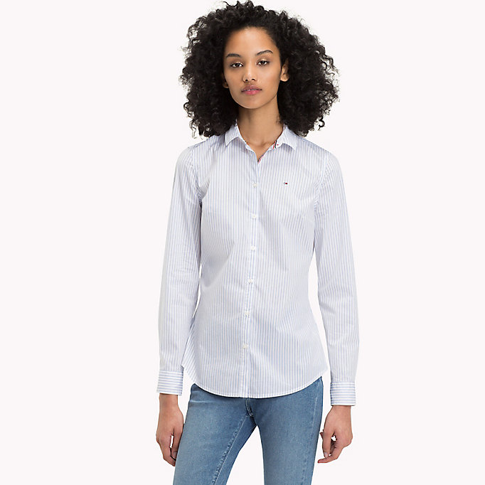TOMMY JEANS Stripe Slim Fit Shirt - BRIGHT WHITE / SPICED CORAL - TOMMY JEANS Women - main image