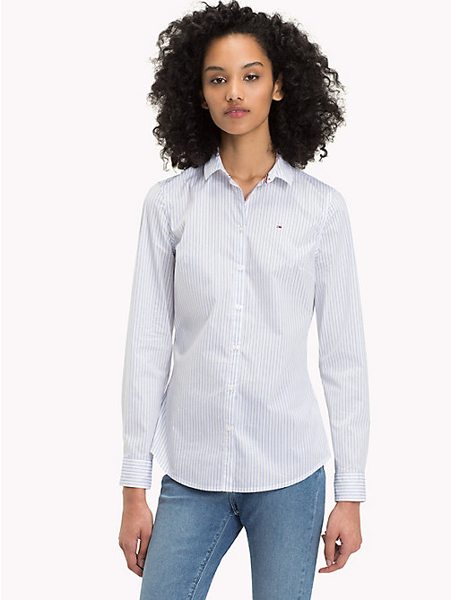 TOMMY JEANS Stripe Slim Fit Shirt - BRIGHT WHITE / SERENITY - TOMMY JEANS Tops - main image