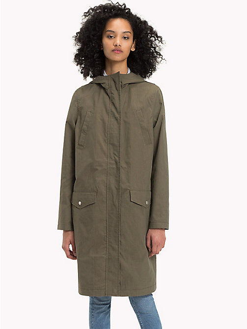 TOMMY JEANS Cotton Blend Twill Parka - GRAPE LEAF - TOMMY JEANS WOMEN - main image