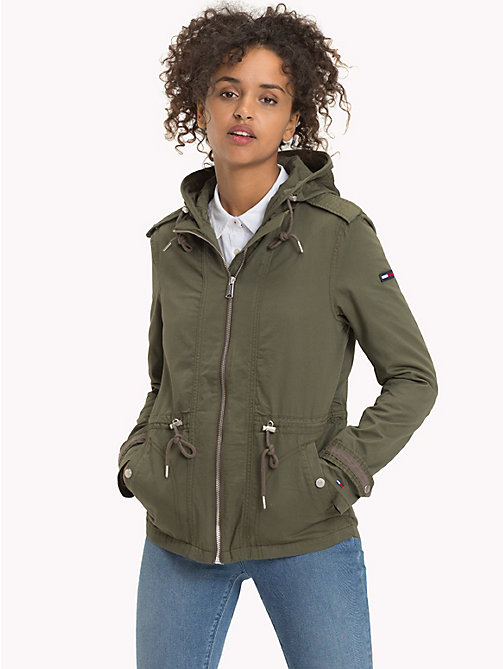 TOMMY JEANS Cotton Twill Hooded Parka - GRAPE LEAF - TOMMY JEANS DAMES - main image
