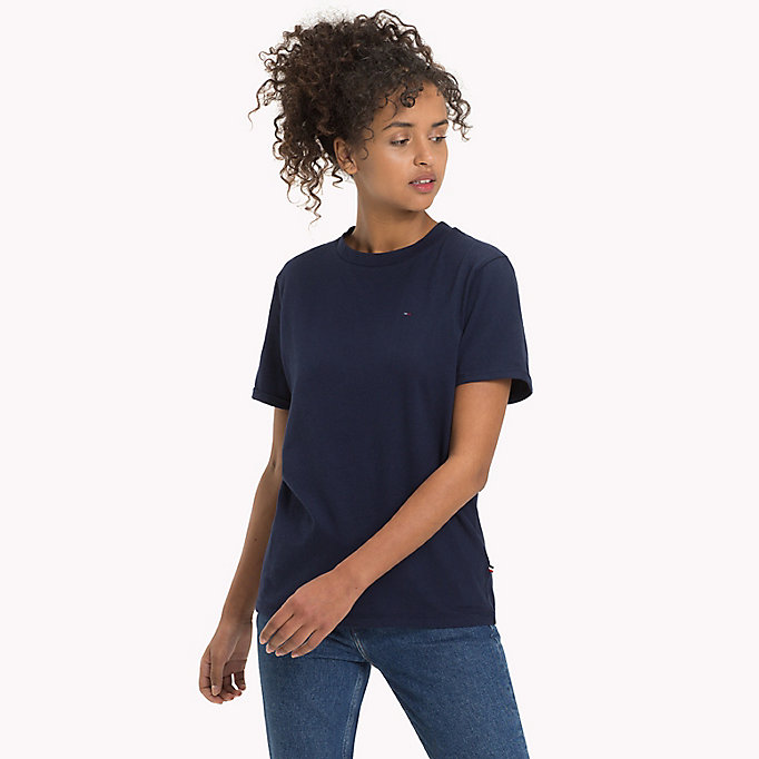 TOMMY JEANS Pure Cotton Boyfriend T-Shirt - TOMMY BLACK - TOMMY JEANS Clothing - main image