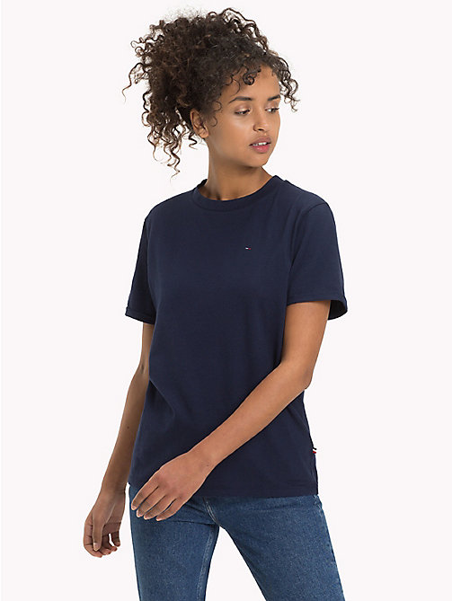 TOMMY JEANS Pure Cotton Boyfriend T-Shirt - BLACK IRIS - TOMMY JEANS WOMEN - main image
