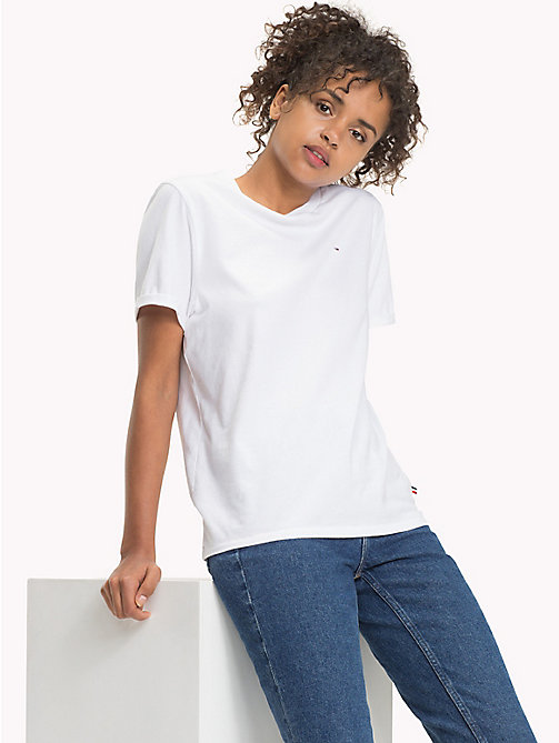 TOMMY JEANS Pure Cotton Boyfriend T-Shirt - BRIGHT WHITE - TOMMY JEANS WOMEN - main image