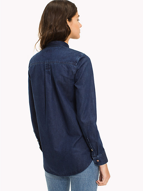 TOMMY JEANS Cotton Denim Shirt - ADRY MID BLUE RIGID - TOMMY JEANS WOMEN - detail image 1