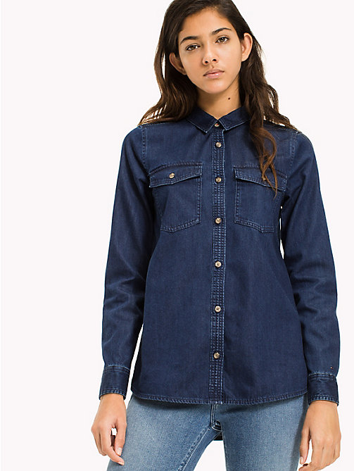 TOMMY JEANS Cotton Denim Shirt - ADRY MID BLUE RIGID - TOMMY JEANS WOMEN - main image