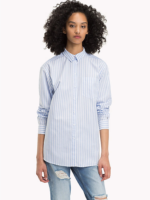 TOMMY JEANS Stripe Cotton Boyfriend Shirt - BRIGHT WHITE / SERENITY - TOMMY JEANS TOMMY JEANS WOMEN - main image