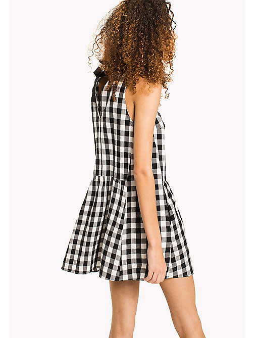 TOMMY JEANS Gingham Check Seersucker Dress - TOMMY BLACK / SNOW WHITE - TOMMY JEANS Vacation Style - detail image 1